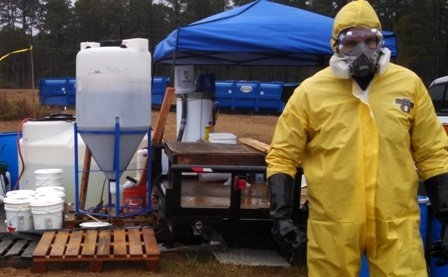 Technician and equipment for building decontamination project