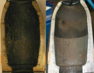 Half shell before and after MuniRem soak to 5X level decontamination